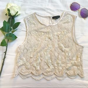 Topshop cream lace sequin scalloped sheer crop top